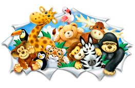 Jungle 3D muursticker Knuffeldieren Breed