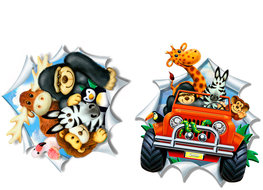 Jungle 3D muurstickers set Jeep