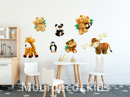 Jungle muurstickers Knuffeldieren set II
