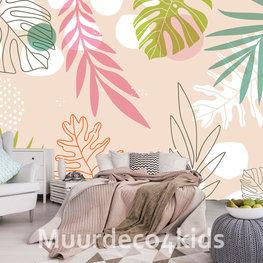Palmbladeren fotobehang Roze