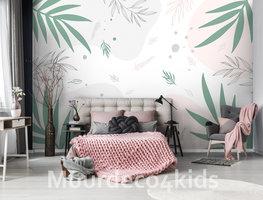 Palmbladeren fotobehang Groen Wit