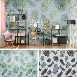 Palmbladeren behang Groen Blauw Grijs