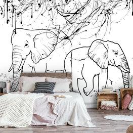 Getekende Olifanten behang Zwart Wit