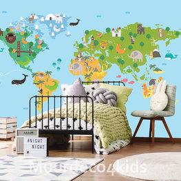 Kinderkamer Wereldkaart behang Groen