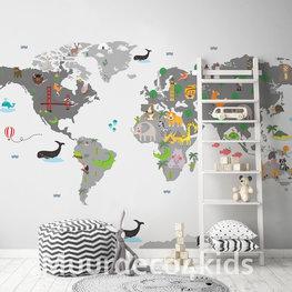 Kinderkamer Wereldkaart behang Grijs