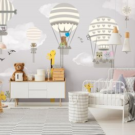 Giraf en Luchtballon behang