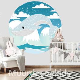 Behangcirkel Blauwe Walvis