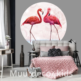 Behangcirkel Flamingo