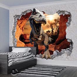 Dinosaurus in grot 3D fotobehang