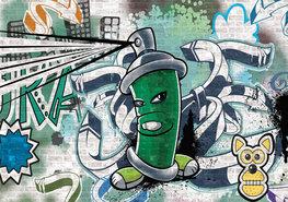 Graffiti behang Groen