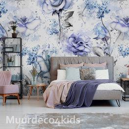 Blauwe rozen fotobehang