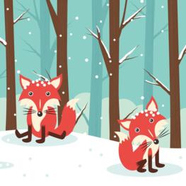 Vosjes behang In de sneeuw