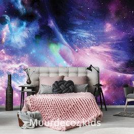 Planeet en sterrennevel fotobehang