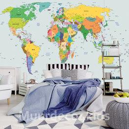 Kleurrijke Wereldkaart fotobehang