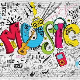 Graffiti behang Music