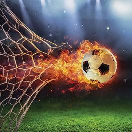 Voetbal behang Brandende Bal