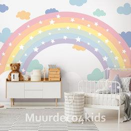 Regenboog behang kinderkamer