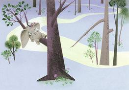 Dumbo behang In de boom