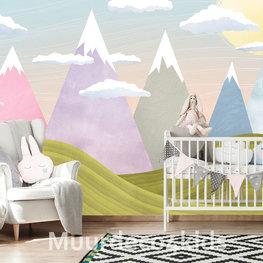 Kinderkamer behang Gekleurde Bergen