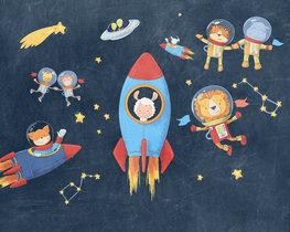 Ruimtevaart behang Friends in Space