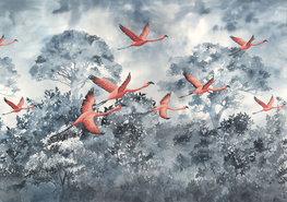 Flamingo fotobehang Flamingos in the Sky