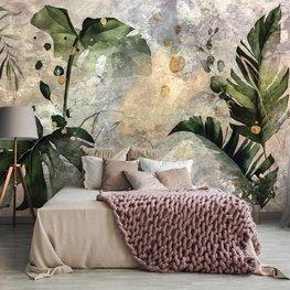 Botanisch behang Aquarel bladeren
