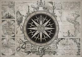 Vintage wereldkaart behang met kompas