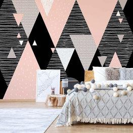 Geometrisch behang Roze Bergen