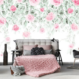 Aquarel behang Roze rozen en bladeren