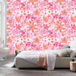Fleurige aquarel bloemen behang