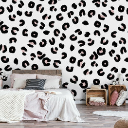 Panterprint behang zwart wit