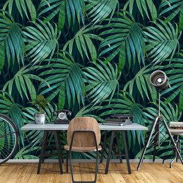 Groene palmbladeren behang