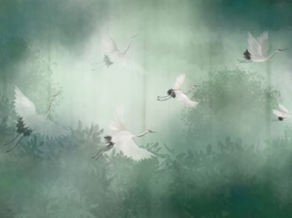Kraanvogel behang Groen XL
