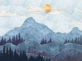 Blauwe bergen met bomen behang XL