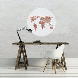 Behangcirkel Wereldkaart Brick
