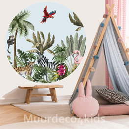 Behangcirkel Jungle Zebra