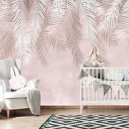 Hangende palmbladeren behang Oud roze