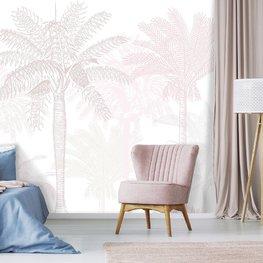 Palmbomen behang Wit Roze