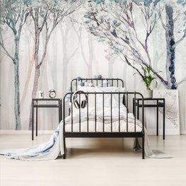 Aquarel bos behang
