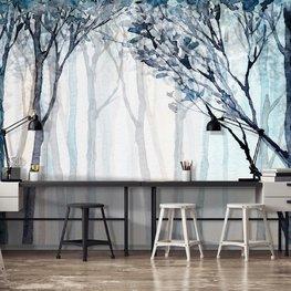 Aquarel bos behang Blauw