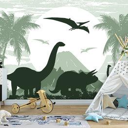 Dinosaurus behang Groen