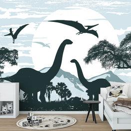 Dinosaurus behang Blauw 2