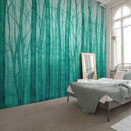 Aquarel bos behang Groen
