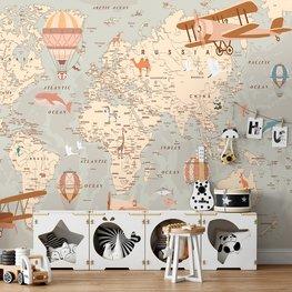 Vintage wereldkaart behang kinderkamer