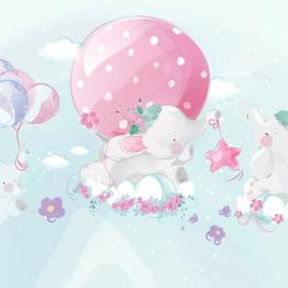 Babykamer pastel behang Olifantjes