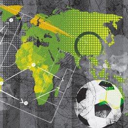 Voetbal behang Wereldkaart