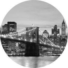 Behangcirkel Brooklyn Bridge zwart-wit