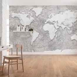 Wereldkaart behang World Relief