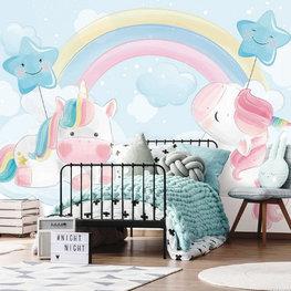 Eenhoorn behang Pastel Blauw