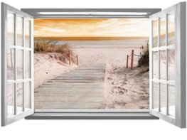 Strand VLIES fotobehang Raam Sunset